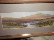 SMALL FRAMED GLAZED ORIGINAL WATERCOLOUR AUTUMN ON THE MOOR SIGNED ROBERT PIPER